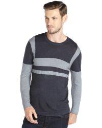 Elie Tahari Navy Merino Wool Knit Colorblock Drake Sweater - Lyst