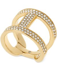 Michael Kors Gold-Tone And Clear Stone H Ring gold - Lyst