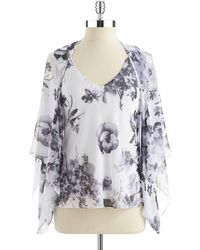Alex Evenings Two Piece Floral Shawl And Blouse Set - Lyst