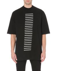 Rick Owens Stripeembroidered Cottonjersey Tshirt Black - Lyst