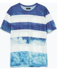 Zara Short Sleeve T-Shirt blue - Lyst