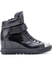 Miu Miu Leather Concealed Wedge Trainers - Black