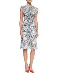 Carolina Herrera Ruffle-front Crinkled Botanical Dress - Lyst