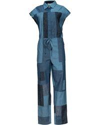 3.1 Phillip Lim Chambray Patchwork Jumpsuit blue - Lyst