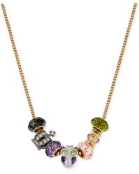 Betsey Johnson Gold-tone Purple Owl and Crown Charm Frontal Necklace - Lyst
