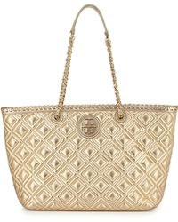 Tory Burch Marion Small Quilted Metallic Tote Bag - Lyst
