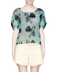 Helen Lee - Floral Print Mesh T-Shirt - Lyst