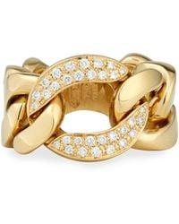 Bessa - 18k Gold Curb Chain Link Diamond Ring - Lyst