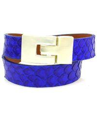 Leighelena - Double Wrap Royal Blue Python Jigsaw Buckle Bracelet - Lyst