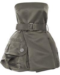 Marc Jacobs Khaki Silk Satin Twill Strapless Dress - Lyst
