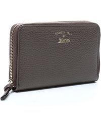Gucci Greyfield Pebbled Leather Swing Zip Medium Wallet - Lyst
