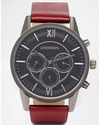 Unknown - Gunmetal Chronograph Leather Strap Watch - Lyst