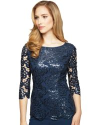 Alex Evenings Sequined Floral Lace Blouse - Lyst
