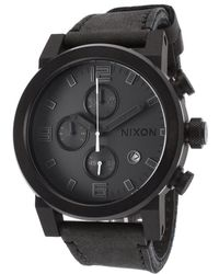Nixon Men'S Ride Chronograph Black Horween Leather And Dial - Lyst