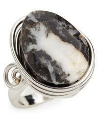 TOPSHOP Zebra Jasper Stone Ring - Metallic