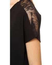 Alice + Olivia Alice Olivia V Neck Lace Combo Dress Black - Lyst