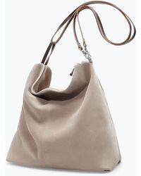 Zara Suede and Leather Bucket Bag - Lyst