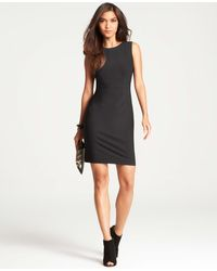 Ann Taylor Petite Tropical Wool Seamed Sheath Dress black - Lyst