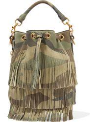 Saint Laurent - Emmanuelle Camouflage-Print Leather Bucket Bag - Lyst
