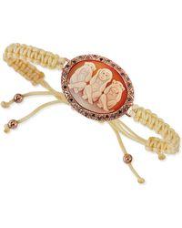 Amedeo Three Wise Monkeys No Evil Cameo Braided Bracelet - Metallic