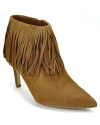 Sam Edelman | Kandice Fringed Suede Ankle Boots | Lyst