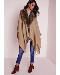 Missguided - Faux Fur Collar Blanket Wrap Tan - Lyst
