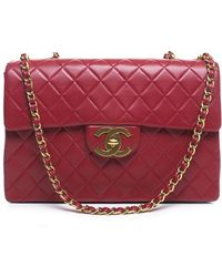 Chanel Pre-Owned Red Lambskin Maxi Flap Bag red - Lyst