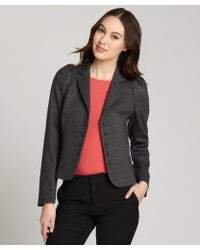 RED Valentino Grey Wool-Blend Crop Long Sleeve Blazer - Lyst