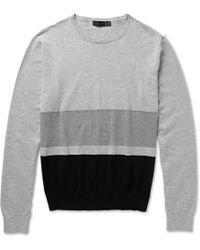 Calvin Klein Striped Cotton Sweater - Lyst