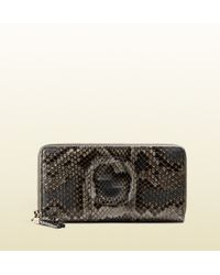 Gucci Soho Python Zip Around Wallet - Lyst