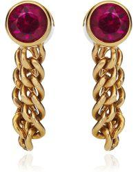 Janis Savitt - Chain Hoop Ruby Earrings - Lyst