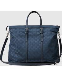 Gucci Nylon Ssima Light Duffle Bag - Blue