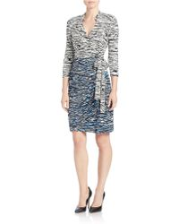 Maggy London Printed Jersey Wrap Dress - Blue
