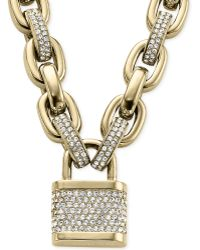 Michael Kors Pavé Padlock Necklace - Lyst