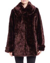 Jones New York Faux Fur Walker Coat - Purple