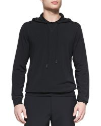 Theory Black Stretchcotton Hoodie - Lyst
