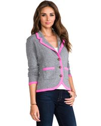 Autumn Cashmere Contrast Tipped Blazer in Gray