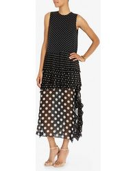 Thakoon Pleated Dot Print Dress black - Lyst