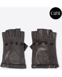 Valentino Leather Gloves With Ruthenium Stud - Lyst