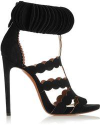 Alaïa Laser-Cut Suede Sandals - Lyst