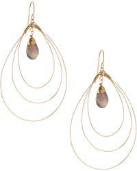 Rafia - 3-hoop Teardrop Earrings W/ Labradorite Center - Lyst