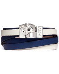 Alexander McQueen Skull Double Wrap Leather Bracelet blue - Lyst