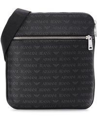 93e9150cded3 Armani Jeans - Black Monogrammed Messenger Bag - Lyst
