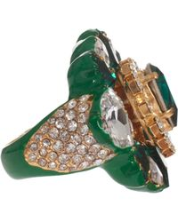 Shourouk Galaxy Double Ring With Crystals - Green