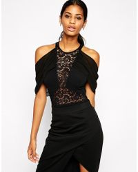 TFNC London Body With Lace Insert And Off Shoulder Details - Black
