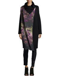 Fuzzi Floral Wool-Blend Coat - Black