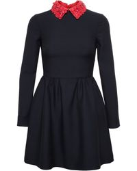 Valentino Dress with Floral Red Leather Collar - Lyst