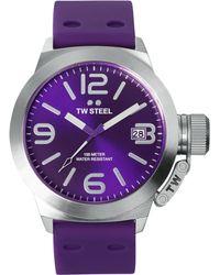 Tw Steel Unisex Canteen Purple Silicone Strap Watch 45mm Tw515 - Lyst