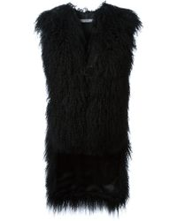 Givenchy Black Shearling Gilet - Lyst
