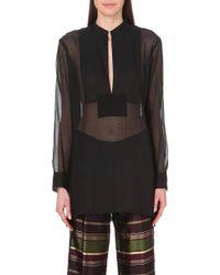 Dries Van Noten Semi-Sheer Cotton And Silk-Blend Tunic - For Women - Lyst